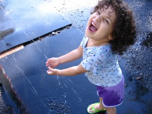 playing in the fountain